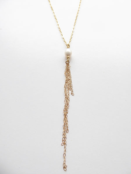 Modern Pearl Tassel Necklace ~14k Gold Fill, Rose Gold, or Sterling Silver
