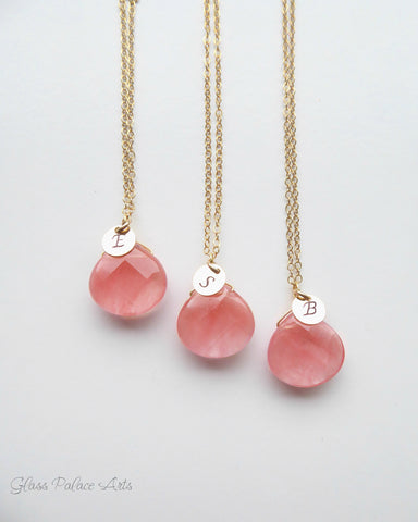 Gemstone Monogram Necklace ~ Made With Cherry Quartz
