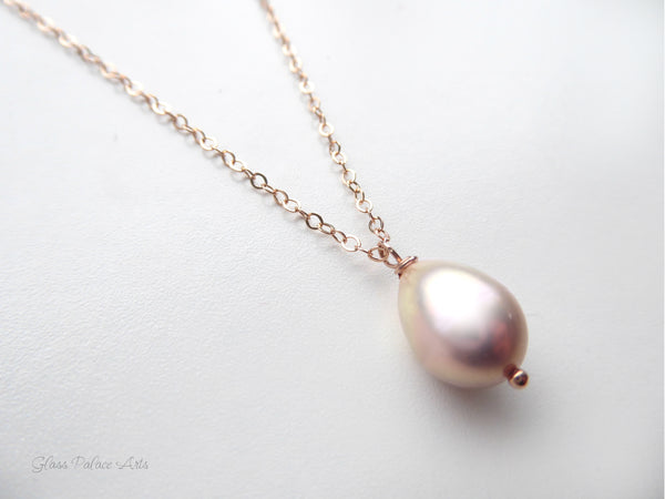 Champagne Pink Freshwater Pearl Necklace Rose Gold - Bridal Bridesmaid Jewelry