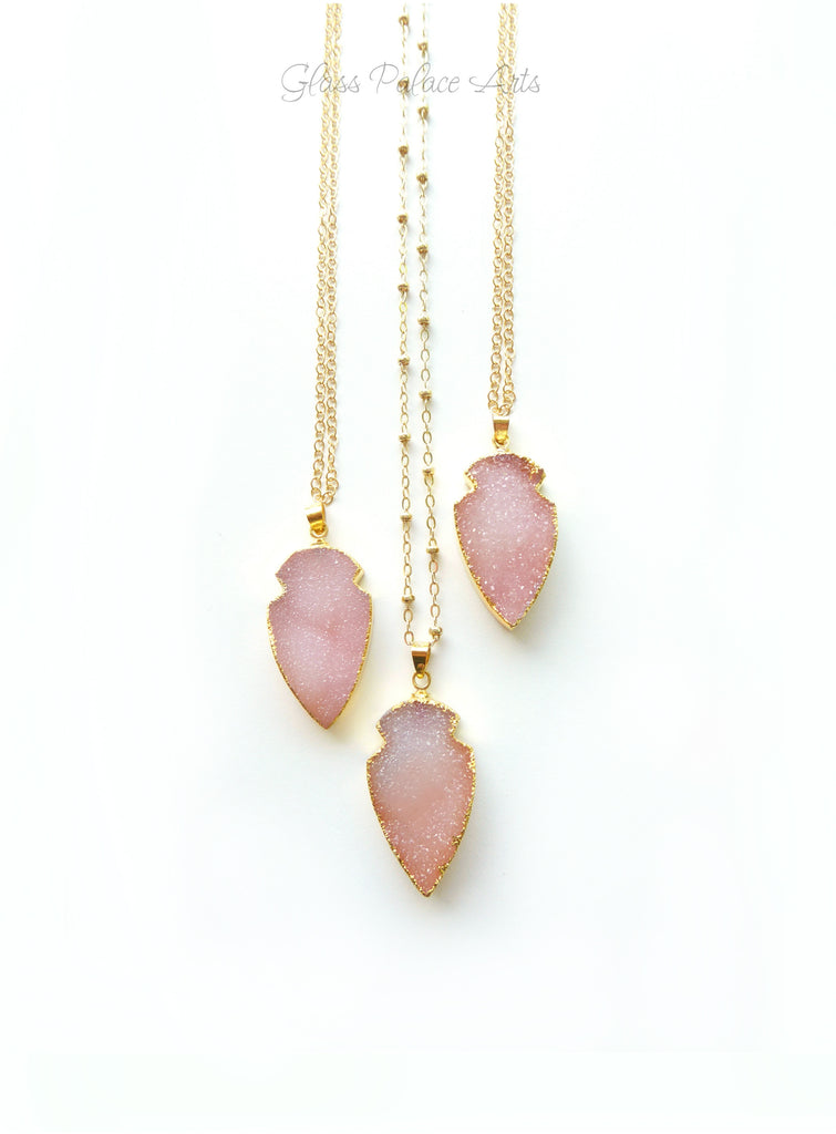 Pink Peach Druzy Arrowhead Pendant Necklace