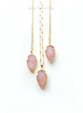 Pink Peach Druzy Pendant Necklace For Women 14k Gold Fill Chain