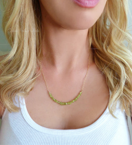 Genuine Peridot Raw Gemstone Necklace - August Birthstone Jewelry