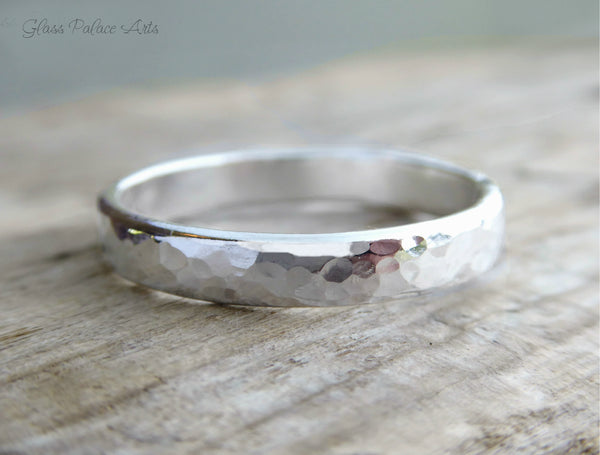 Men's Sterling Silver Hammered Wedding Band Ring