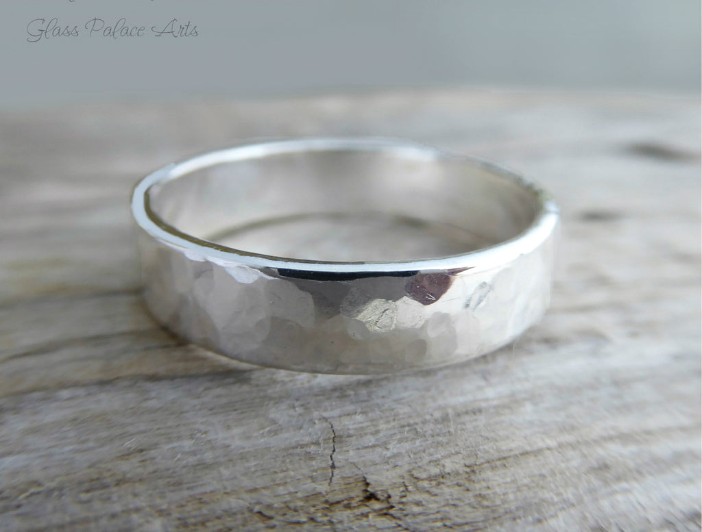 This is a graphic of Thick Sterling Silver Hammered Ring for Men - Wedding Band For Him