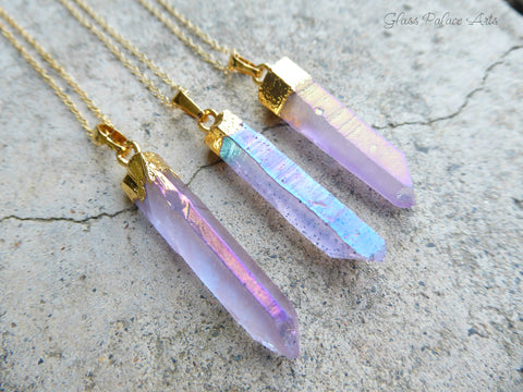 Purple Aura Crystal Point Gemstone Necklace