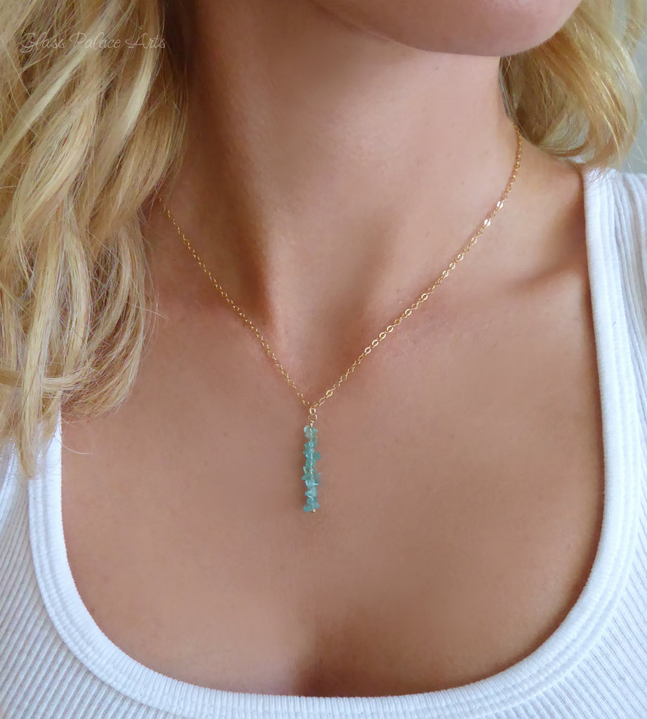 Raw Gemstone Apatite Necklace For Women - Gold, Rose Gold or Sterling Silver