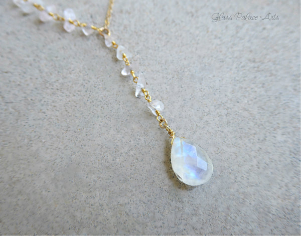 Gold Genuine Moonstone Necklace For Women - Gemstone Lariat Y Necklace