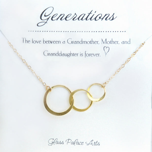 Three Generations Necklace For Grandmother Mother Daughter