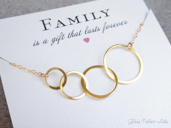 "Four Circle Infinity Necklace - On ""Family"" Card"