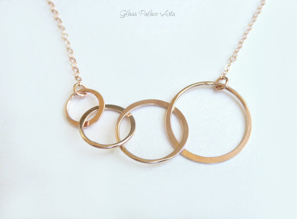 Rose Gold Four Circle Infinity Necklace