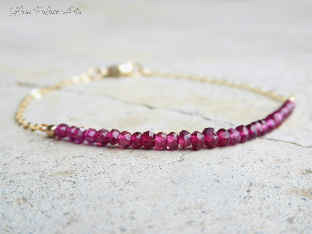 Genuine Rhodolite Garnet Bracelet For Women Rose Gold - January Birthstone