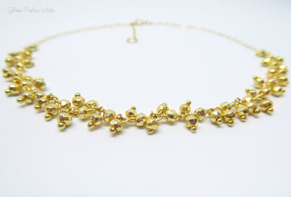 Gold Beaded Choker Necklace With Genuine Sparkling Pyrite