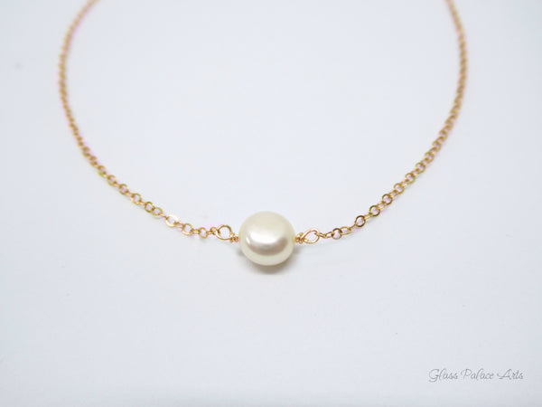 Pearl Choker Necklace - Single Pearl Bridesmaid Necklace - June Birthstone