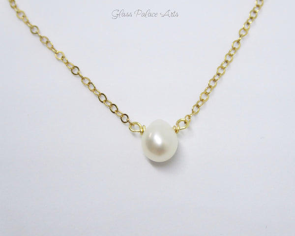 Tiny Pearl Teardrop Choker Necklace
