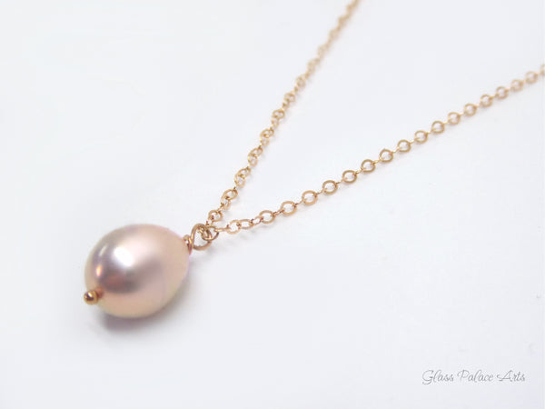 Champagne Pink Freshwater Pearl Necklace Rose Gold - Bridal Bridesmaid Necklace
