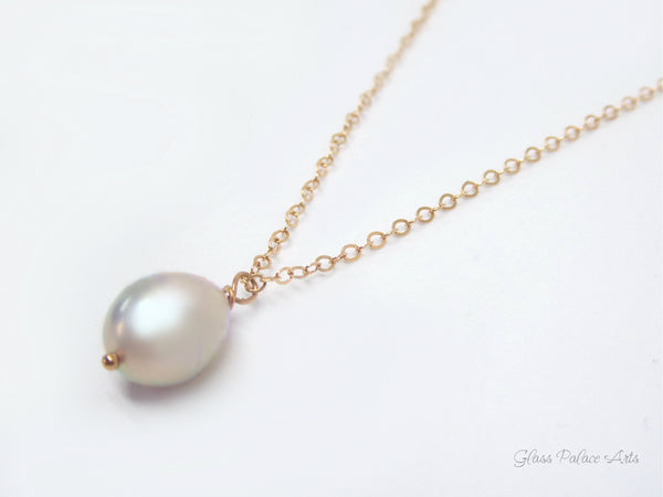 Pearl Teardrop Necklace Rose Gold - Single Pearl Gold Necklace Pendant