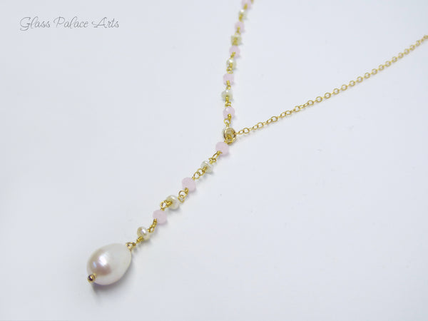 Gold Freshwater Pearl Lariat Necklace - Pearl Bridal Y Necklace For Women