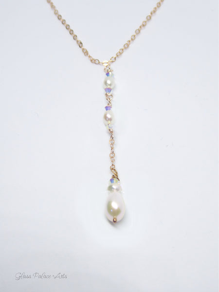 Dainty Freshwater Pearl Lariat Y Necklace ~ With Swarovski Crystals