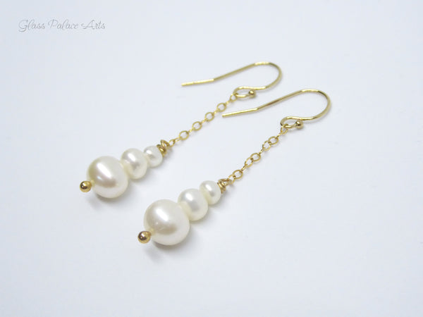 Genuine Freshwater Pearl Dangle Earrings - Sterling Silver, 14k Gold Fill or Rose Gold Fill