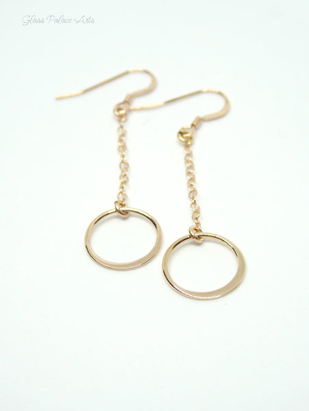 Long Dangle Hoop Earrings - Dainty Infinity Circle Drop Earrings