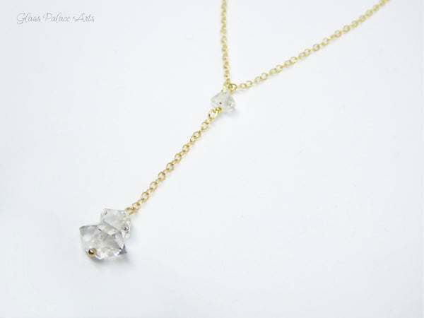 Modern Herkimer Diamond Y Necklace