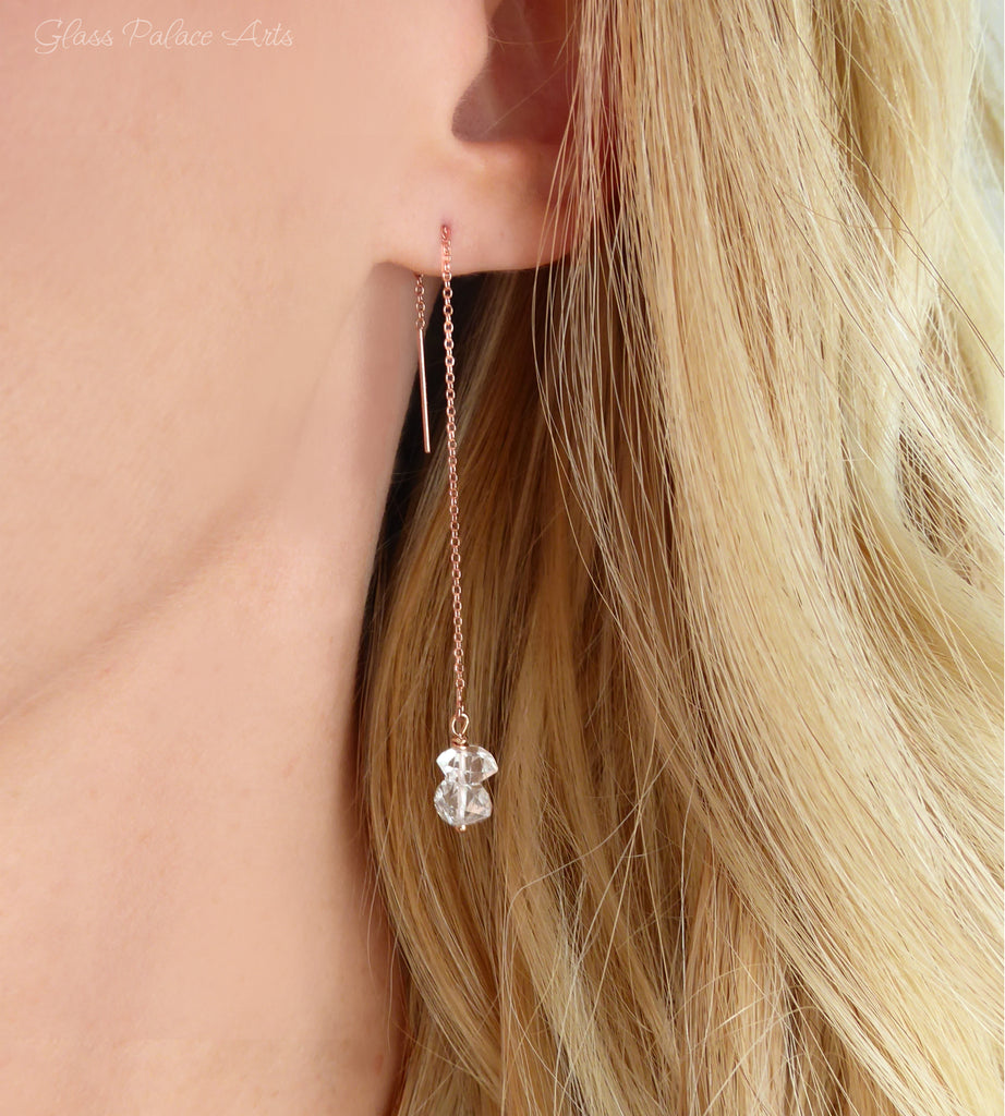 Herkimer Diamond Pull Through Threader Earrings