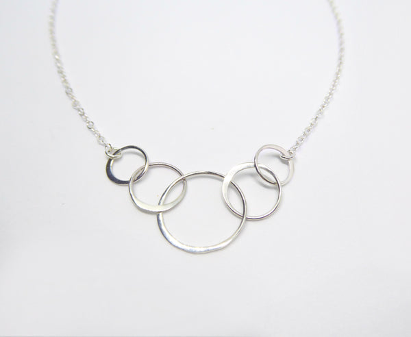 Sterling Silver Five Circle Infinity Necklace