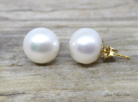 Freshwater Pearl Stud Earrings For Women - Sterling Silver, 14k Gold Fill