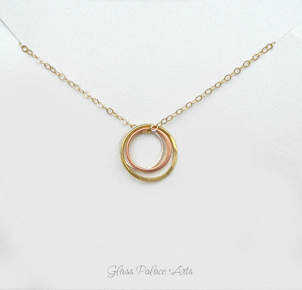 Three Metal Infinity Circle Necklace For Women - Sterling Silver, Rose Gold