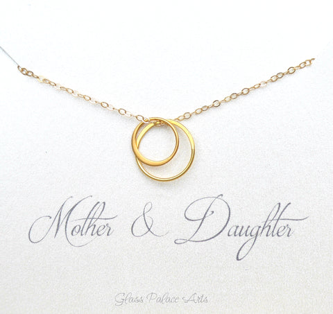 Mother Daughter Infinity Necklace Gift For Mom - Gold, Rose Gold, Sterling Silver