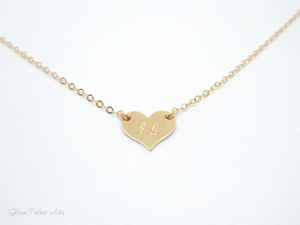 Small Personalized Heart Necklace - With Monogram Lettering