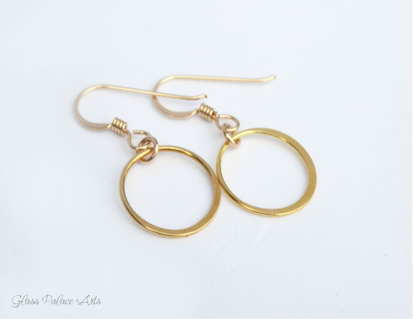Small Hoop Infinity Circle Earrings - Sterling Silver, Gold, Rose Gold