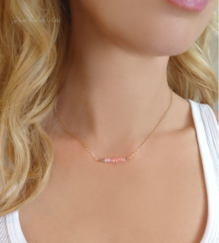 Genuine Pink Ethiopian Opal Necklace - October Birthstone Jewelry