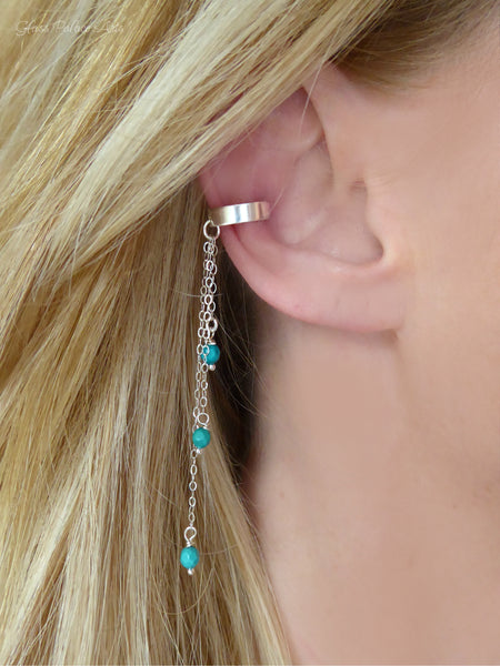 Sterling Silver No Piercing Turquoise Dangle Ear Cuff