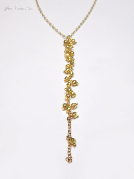 Gold Lariat Y Necklace For Women - Long Beaded Handmade Wedding Necklace