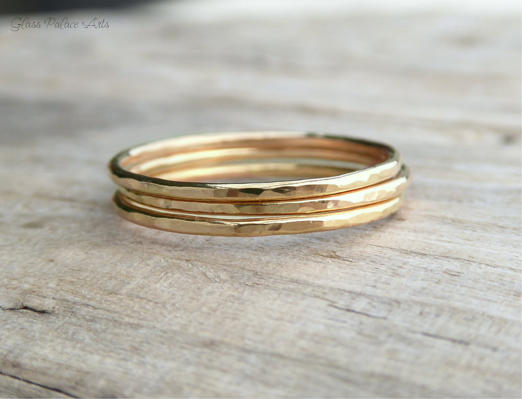 Gold Hammered Stackable Rings for Women