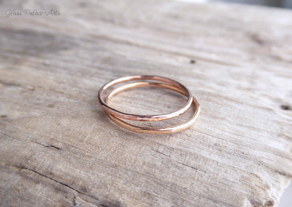 Rose Gold Rings for Women- Hammered Stacking Ring Sets