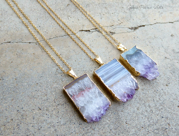 Genuine Amethyst Slice Druzy Geode Necklace With 14k Gold Fill Chain