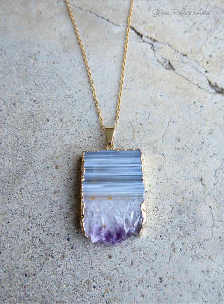 Genuine Amethyst Slice Druzy Necklace