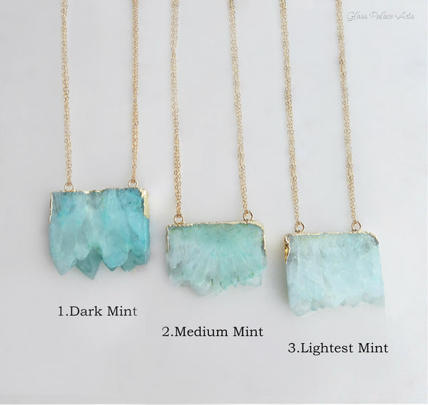 Raw Aquamarine Quartz Crystal Necklace For Women In Varying Shades Of Mint