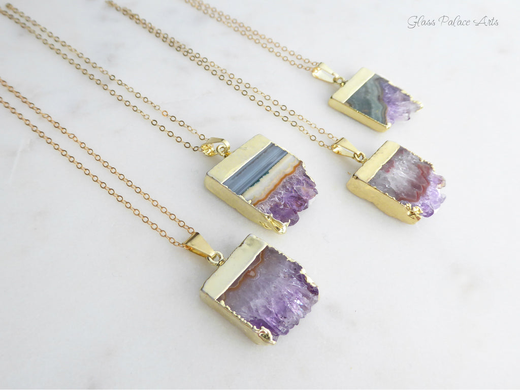 20\u201d Chain Amethyst Slice Necklace on Gold Chain