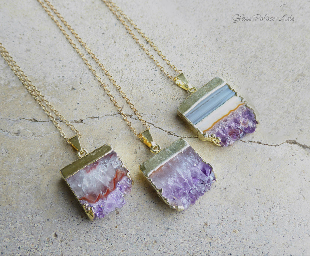 Raw amethyst slice druzy necklace long 14k gold filled chain raw amethyst slice druzy necklace long 14k gold filled chain aloadofball Choice Image