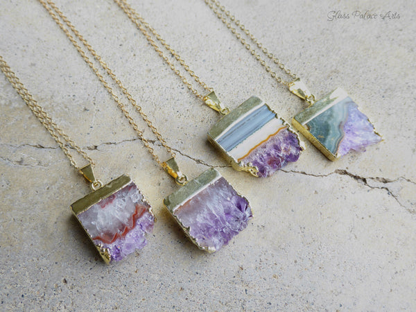 Raw Amethyst Slice Druzy Necklace Long - 14k Gold Filled Chain