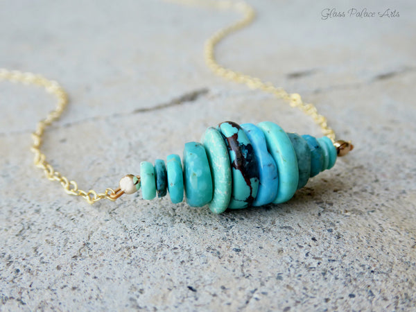 Beaded Genuine Turquoise Necklace For Women - 14k Gold Fill or Sterling Silver