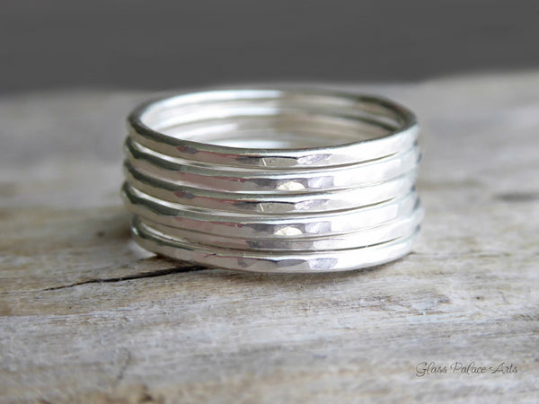 Hammered Sterling Silver Stacking Ring Set For Women - Pinky, Thumb, or Midi Rings
