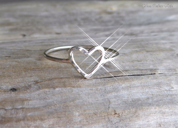 Sterling Silver Hammered Heart Ring For Women - Open Heart Friendship Stacking Ring