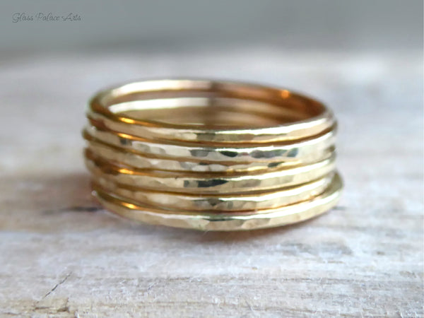 Gold Stacking Rings For Women - Simple Hammered Midi, Pinky or Thumb Ring Set