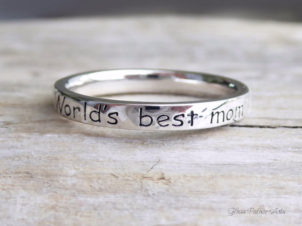 Worlds Best Mom Ring Sterling Silver - Stackable Hammered Rings For Mom