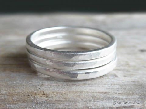 Matte Hammered Silver Ring For Women - Simple Brushed Sterling Silver Satin Ring