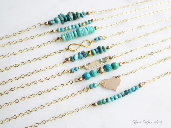 Turquoise Necklace Gold - Layering Dainty Real Turquoise Necklace for Women